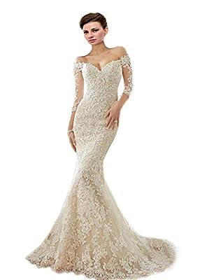 Engerla Long Sleeve Sweetheart Off The Shoulder Mermaid Lace Bride Wedding Dress