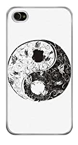 Flower and Butterflies Yin Yang Snap-On Cover Hard Plastic Case for iPhone 4/4S (Clear) by lolosakes