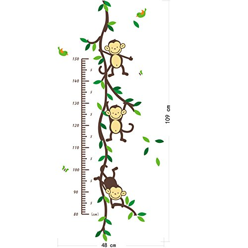 HongXander Fashion Monkey Height Chart Kids Wall Art Stickers Wall Decals Graphics (A)