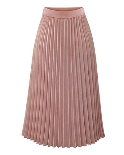 Mujeres Elegante Gasa Maxifalda Plisada de Cintura Alta Faldas Largas Vacaciones Playa Pink