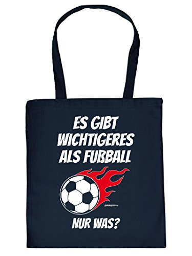 Coole Sporttasche Fussball Motiv : Es gibt wichtigeres als Fussball .. Baumwolltasche - Farbe. navy blau