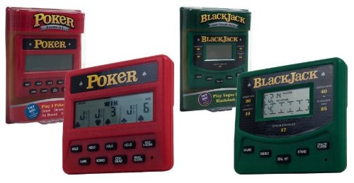 Trademark Global Electronic Handheld 5 in 1 Poker and Las Vegas Style BlackJack Game Bundle
