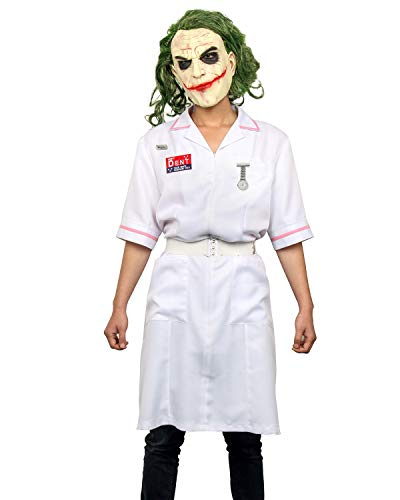 Adult Men Dent Joker's Clown Nurse Coat Uniform Cosplay Costume Halloween Fancy Dress Make Up Suit Outfit with Latex Mask (Large, Adult Uniform + Mask) -
