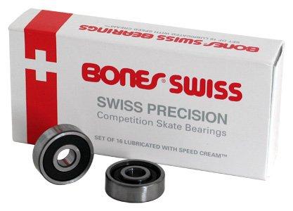 Bones Swiss Bearings Quantity 16 Pack Size 7mm Quad, Derby, Roller - 10mm Bearing Skateboard