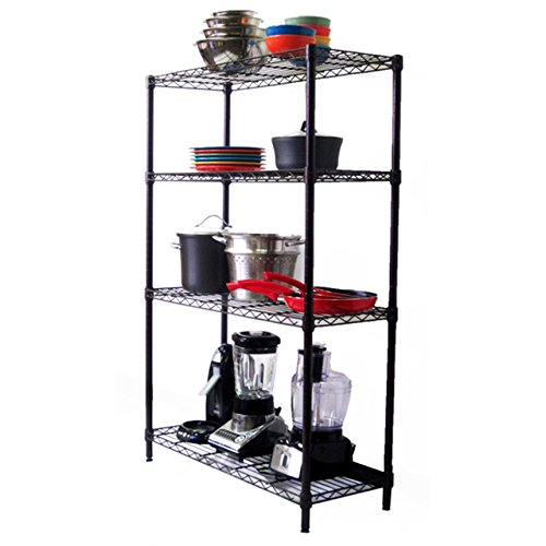 Shelving Unit 4 Tiered Indoor Wire Shelving for Home Office Garage Storage 4-Tier Rack (Home Depot Shelving compare prices)