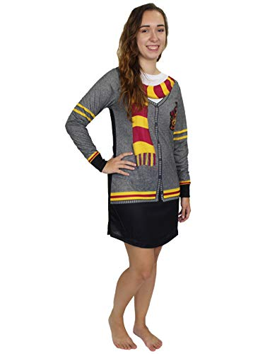 Harry Potter Hogwarts Gryffindor Women's Long Sleeve Nightgown Pajamas (X-Large, Black/Grey)