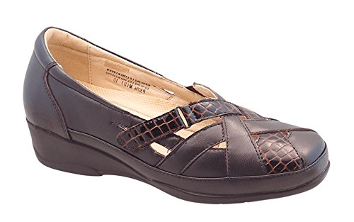 (Hoopoe Women's Dominique P3096 Comfort Diabetic Orthopedic Shoe (8.5 W US, Brown Croco))
