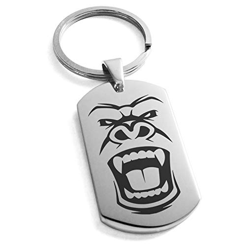 Tioneer Stainless Steel Formidable Kong Gorilla Engraved Dog Tag Keychain Keyring ()