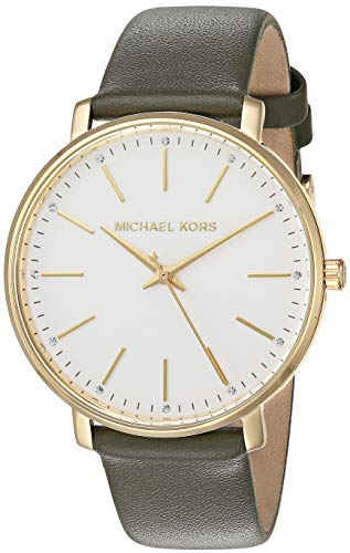 Michael Kors Women's Pyper Stainless Steel Quartz Watch with Leather Strap, Gold/Green/White, 18