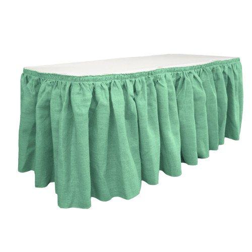 LA Linen SkirtBurlap21x29-15Lclips-Mint Burlap Table Skirt with 15 L-Clips44; Mint - 21 ft. x 29 in.