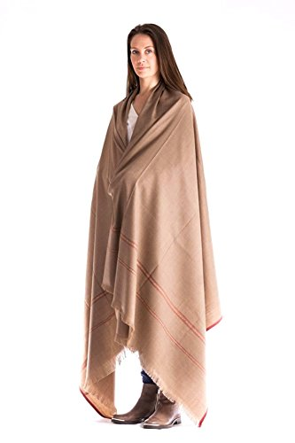 Buddha Blanket, Tibetan Meditation Shawl, Yoga Blanket, Indian Tapestry, Oversize Scarf, Stole, Wool Wrap. Yoga Meditation Accessory, Spiritual Gifts, Unisex (Extra Large 8' x 4' ) Light Brown