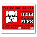 New Mexico NM Zombie Hunting License Permit Red - Biohazard Response Team - Window Bumper Locker Sticker