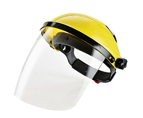 Safety Works Adjustable Headgear Face shield with Visor Mask Clear Face and Head Coverage Polycarbonate Used for - Light Construction, General Manufacturing, Cutting Metal, Cutting Wood (TL-1021) -