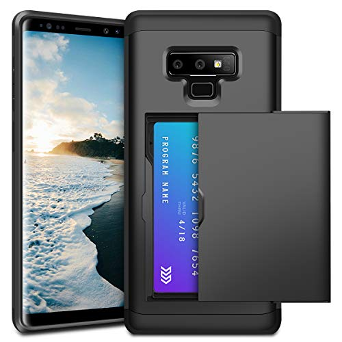 XNMOA Galaxy Note 9 Wallet Case Slim TPU Rubber Bumper Body and Shockproof Anti-scratch Hard PC Protective Case Wallet case Cash Credit Card Slot ID Holder with 2 Cards for Galaxy Note 9-Black