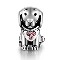 925 Sterling Silver Puppy Dog Animal Charms Crystal Jewelry Bead Fit Pandora Bracelets for Women