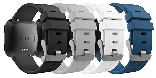MoKo Fitbit Versa Band for Women Men, [4 PACK] Premium Soft Silicone Watch Band Replacement Strap Band Bracelet for Fitbit Versa Fitness Wristband, Fits 5.31''-8.07'', Multi Colors C by MoKo