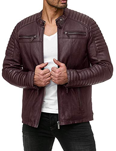 Coofandy Men's Classic Leather Motorcycle Jacket Winter Biker Jacket Red