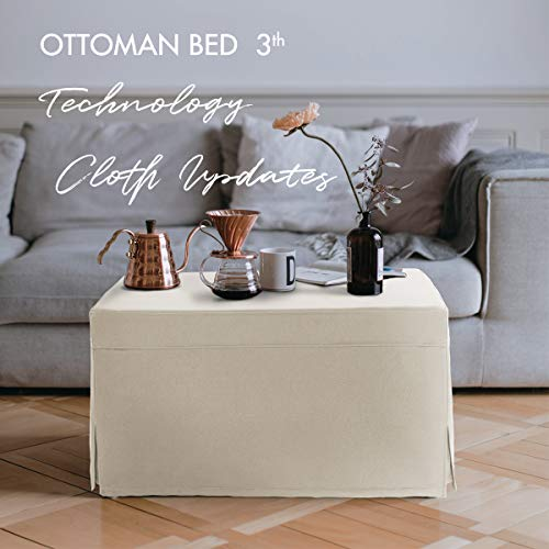 Space Saving Folding Ottoman Sleeper Guest Bed 3rd Generation with Technology Cloth Updates, Breathable Leather Micro Fabric, Square Ottoman Coffee Table, Super Easy to Clean,Twin,Beige