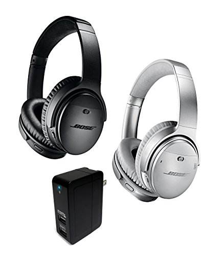 Bose QuietComfort 35 (Series II) Wireless Bluetooth Noise Cancelling Headphones, Black & Silver Bundle + Plugable 2-Port 20W USB Universal Smart Wall Charger by Bose