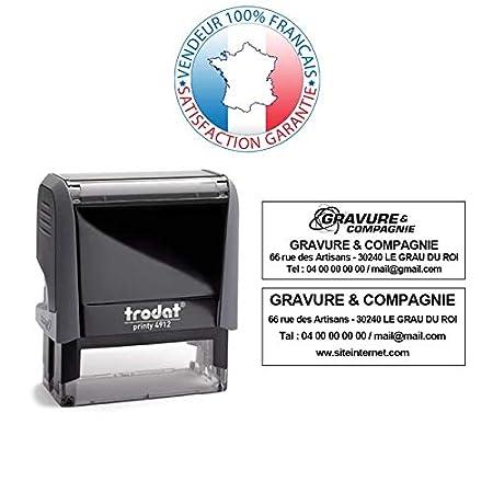EMPREINTE 47 x 18 mm OFFERTE TRODAT PRINTY 4912 Tampon encreur professionnel personnalis/é 4 lignes Turquoise 10 couleurs disponibles
