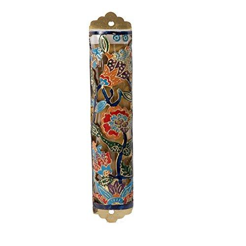 Mezuzah Scroll Case For Door - Yair Emanuel Judaica LASER CUT HAND PAINTED MEZUZAH FLOWERS COLORES (Bundle)