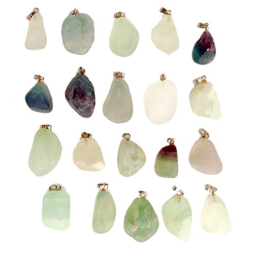GemMaster 20 Piece Tumbled Stone Natural Green and Purple Fluorite Gemstone Pendants (Fluorite Gemstone Pendant)