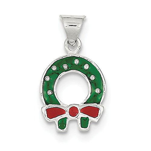 Enameled Christmas Wreath (Sterling Silver Polished Flat back Closed back Enameled Christmas Wreath Charm)