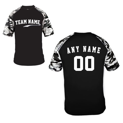 Custom Gear (Custom (Any Team Name Front and/or Name/# on Back) Black/White Camo Adult Large Sleeve Wicking Jersey Uniform Shirt)