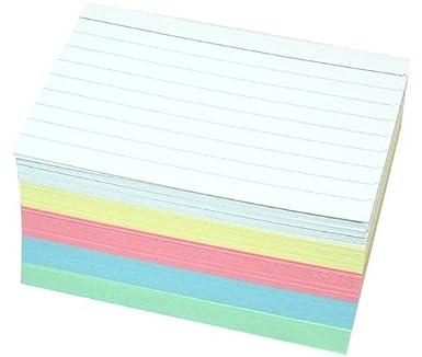 500 Karteikarten DIN A7 in 5 Farben zweiseitig liniert 500, DIN A7 sortiert
