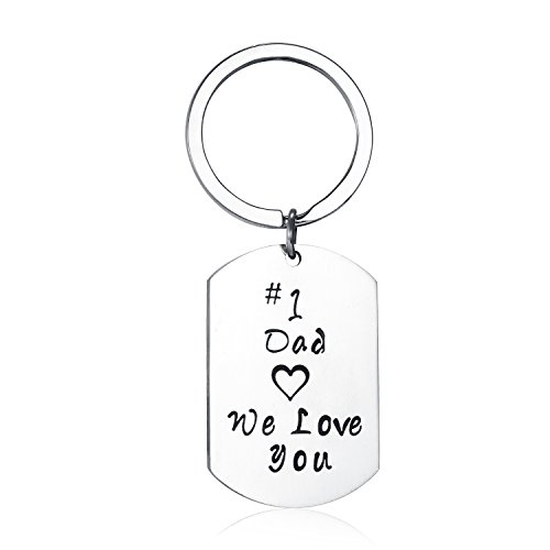 Udobuy Stainless Steel Daddy Father's Gift Keychain - Number One Dad We Love You,Personalised Dad Daddy Gift Present Keychain Christmas Gift