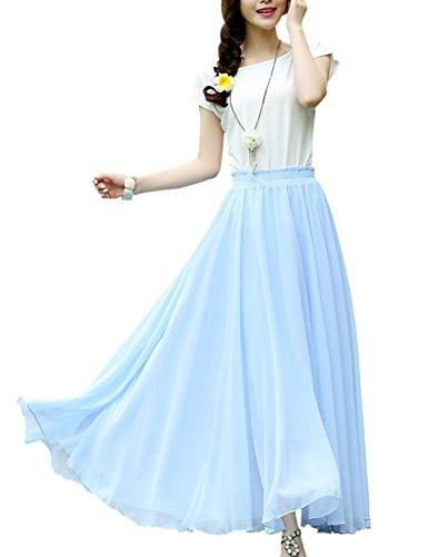 Tanming Women's Basic Elastic Waist Big Hem Pleated Maxi Chiffon Skirt (Small, Light Blue) (Sexy Skirt Pleated Blue)