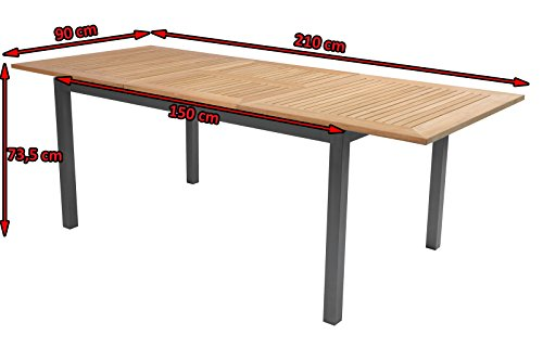 South Wales Table Xerix / Teak 150 / 210 x 90 CM FSC Teak: Amazon.co ...