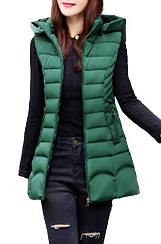 Coat Women's Down Blackish Green Casual Long Thickened Hooded EKU Vest tdFftq