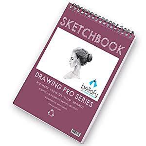 Bellofy 100 Sheet Sketch Book 9×12-Inch | 64 IB 95 GSM | Top Spiral-Bound Sketchpad for Artist | Sketching and Drawing Paper | Micro-Perforated & Acid Free