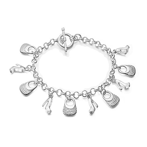 Onefeart Sterling Silver Bracelet for Women Retro Style,Handbag Hight Heels Shape Design 21CM ()