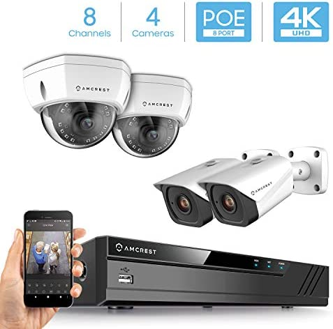 Amcrest 4K Security Camera System w 4K 8CH PoE NVR, 4 x 4K 8-Megapixel IP67 Weatherproof Metal Bullet Dome POE IP Cameras, 2.8mm Lens, Hard Drive Not Included, NV4108E-2493EW2-2496EW2 White