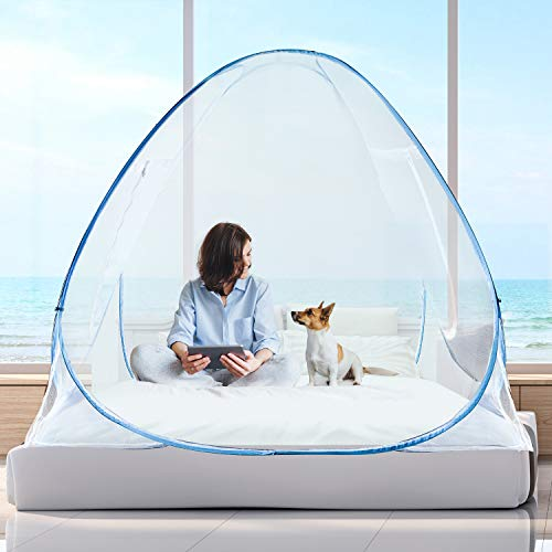 OLLREAR Pop up Mosquito Net Home & Travel Camping Tent Stand up Canopy Large Bug Net King Bed Netting Floor Bottom