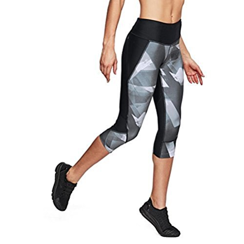 Under Armour Women's Armour Fly Fast Printed Capris, Black/Reflective, Small