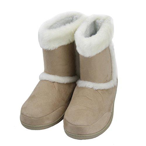 Scarpette Da Passeggio Per Donna Al Coperto Inverno Caldo Morbido Pile Scarpette Di Stivaletto Scarpe Da Casa Beige Furry