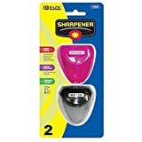 BAZIC Dual Blades Sharpener with Triangle Receptacle, 2 Per Pack (Colors May Vary)