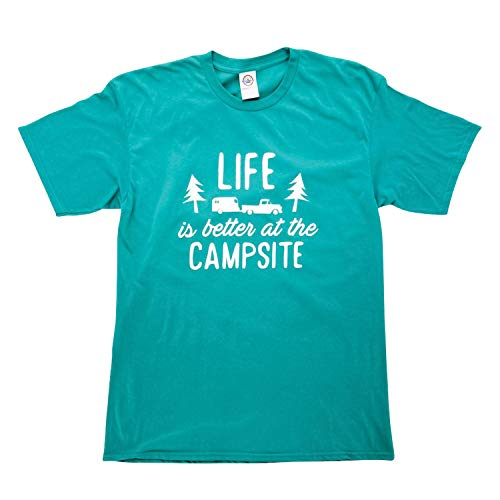 """Camco """"Life Is Better At The Campsite"""" Crew Neck Short-Sleeve T-Shirt (Teal Blue, XX-Large) (53221)"""