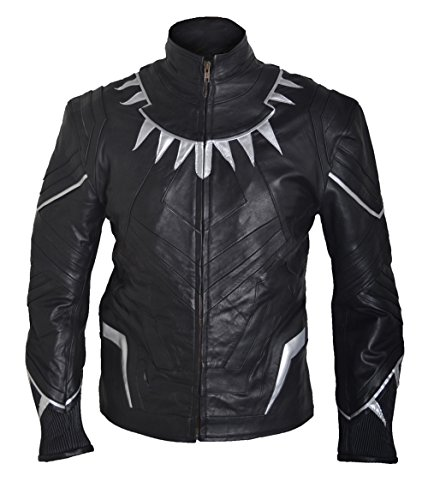 Classyak Men's Captain Black Panther America Civil War Fashion Leather Jacket Sheep Black XX-Large