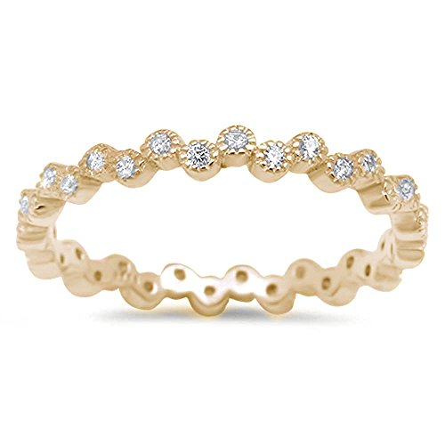 - Oxford Diamond Co Yellow Gold Pltd Eternity Band Cubic Zirconia 925 Sterling Silver Ring Size 4-10