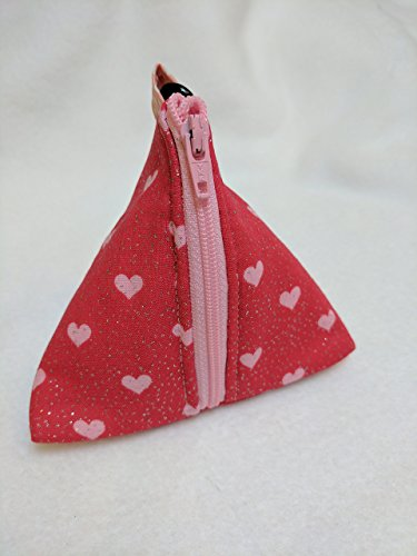 (Sparkly Pink Heart Pouch Bag - Small Zip up Purse. Handmade triangular purse made using a lovely Sparkly Pink Heart print on red background. Other common uses Dog treat bag,)