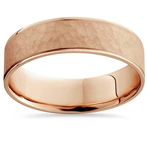 14k Rose Gold Hammered Comfort Fit Wedding (Hammered Comfort Fit Wedding Band)