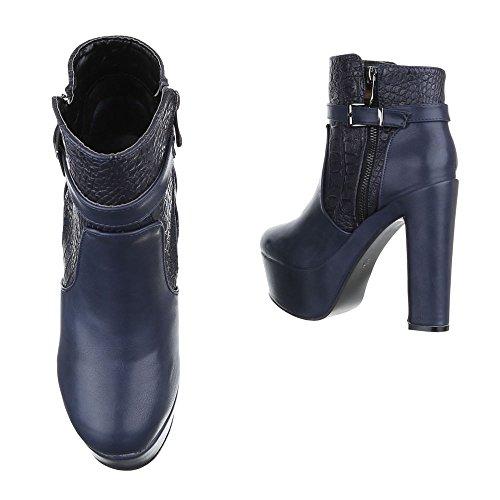 Ital-Design - Botas plisadas Mujer Azul
