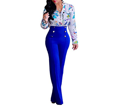 LKOUS+Women%27s+Stretchy+High+waisted+Wide+Leg+Button-down+Pants+%282XL%2C+26-Be%29