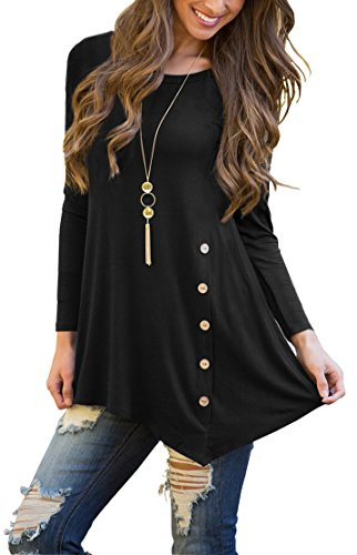 Asymmetrical Tunic Top - Viishow Womens Scoop Neck Solid Asymmetrical Pleated Button Trim Unique Casual Style Tunic Tops Blouse Black L