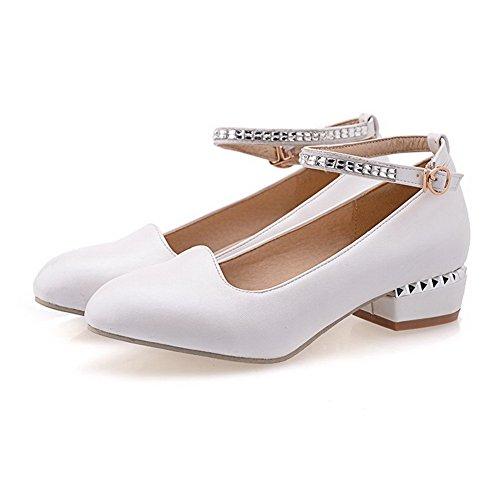 Allhqfashion Donna Tacco A Spillo Tacco Basso Morbido Materiale Fibbia Massiccia Pompe-scarpe Bianche