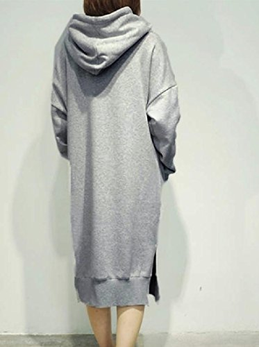 Confortables Femmes Surdimensionné Empoché Solide Polaire À Capuchon Gris Pull-over Robe Longue